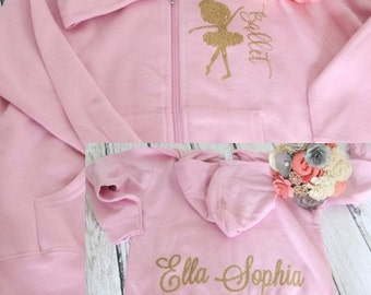 Ballet Sweatshirt Ballerina zip up hoodie sweatshirt with childs name on the back and ballerina with Ballet on the front shown in pink