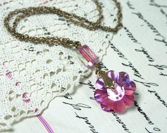 Vintage Swarovski Pink Flower on Long 12K Gold Chain Necklace