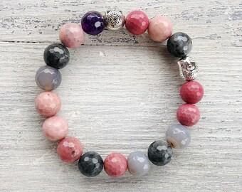 Multicolor stretch bracelet / Gray pink gemstone bracelet / Amethyst bracelet / Agate bracelet / Rhodonite bracelet