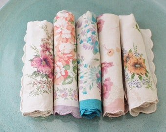 5 Tea dyed hankies for crafting or use, mixed media supply