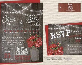 Printable Rustic Wedding Invitation Set, Fall Wedding Invite, Mason Jar Wedding Invitation, Red Peonies, Wood, String Lights Country Wedding