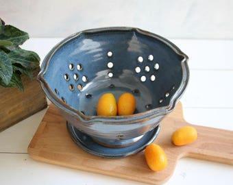 Berry bowl, ceramic berry bowl, blue colander, strainer, fruit bowl, pottery strainer, serving bowl, kitchenware, christmas gift