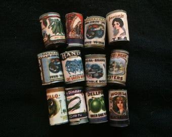 Vintage Set (B) of Twelve Dollhouse Miniature Food Cans, Dollhouse Accessories, Kitchen Accessories - 1980