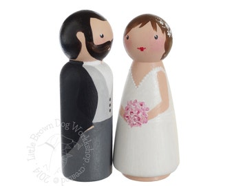 Custom hand painted peg doll bride & groom wedding cake topper with morning dress / tail coat, personalised wooden people couple portrait