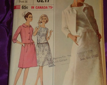 1960s 60s Vintage Two Pc Dress Evening or Cocktail Length n Short Jacket COMPLETE Simplicity DESIGNER Pattern 6217 Bust 36 Inches 92 Metric