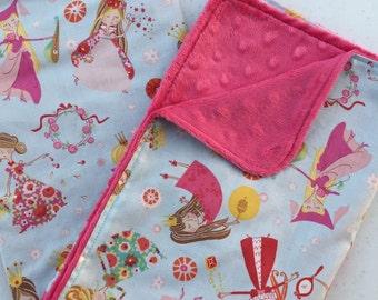Girls Princess Baby Blanket Minky Blanket Stroller Blanket Nursery Bedding Shower Gift Bright Pink Minky Dot Back