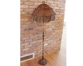 Incredible French Antique Floor Lamp Unbelievable Shade Fringe Flapper