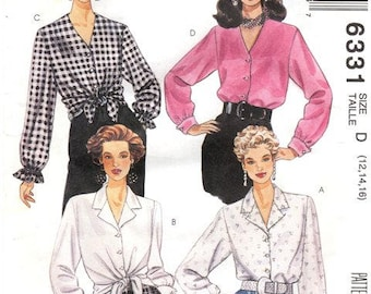 McCall's Pattern 6331 Loose front buttoned blouse Long sleeves Size 12-16 UNCUT