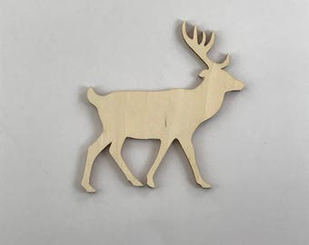 """Laser Cut Deer, Stag, Buck,  Up to 16"""", Multiple Thickness, Laser Cut Wood, A298, Crafting Supplies,"""