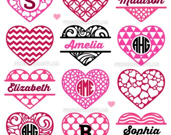 Valentine's Day Hearts - Monogram SVG Frames Love Cut Files for Vinyl Cutting Machines, Cricut, Silhouette - Svg, Dxf, Eps, Png, Studio3