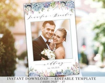 Succulents Photo Booth Frame Wedding PhotoBooth Photo Prop Frame Succulent Greenery Watercolor Photobooth Editable PDF Template Instant