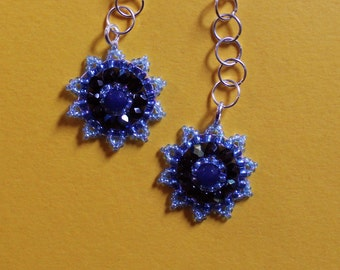 Blue flower beaded vintage inspired drop earrings with silver plated chain