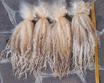 long Wool curls felting fur collar spinning locks 30-40 cm Leicester premium raw unwashed white very soft fiber/curly Doll Hair lafiabarussa