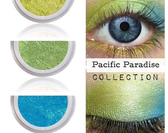 Lime Green Turquoise Eyeshadow Kit, Shimmer Finish, Coordinating Shades, Eyeshadow Eye Shadow, Bright Eyes, PACIFIC PARADISE, Natural Color