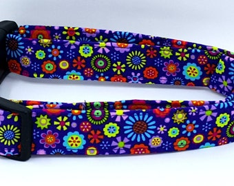 Funky Flowers Lime Green Red Blue Purple Spring Floral Dog Collar