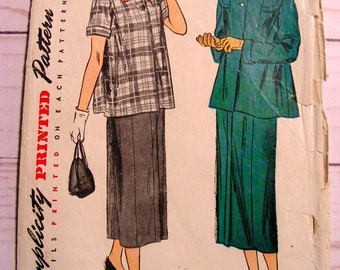 1940's Stylish 2-piece Maternity Suit | Misses 16 bust 34 | Simplicity 2689 | cut used complete vintage 1940's sewing pattern