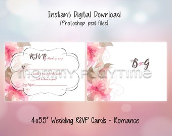 "Wedding RSVP Cards 4x5.5"" - Romance"