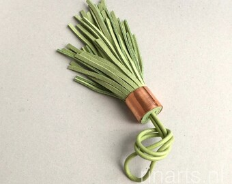 Tassel bag charm BOHO in apple green suede.  Asymmetric tassel.  Boho leather tassel
