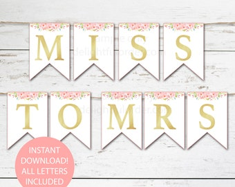 Floral Banner - All Letters Included, Printable Wedding, Shower, Birthday Banner Decorations, (26) PDF Printable Files - Instant Download