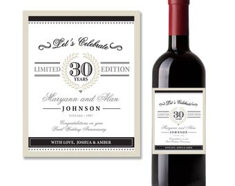 30th Anniversary printable wine label, Pearl Wedding Anniversary, Wedding Anniversary Gift | Printed