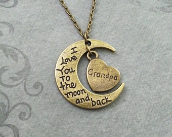 I Love You to the Moon and Back Necklace Bronze Moon Jewelry Brass Grandpa Jewelry Grandfather Jewelry Granddaughter Necklace Grandpa Heart