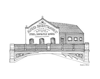 Alfred Beckett & Sons Print - Kelham Island Sheffield Illustration - Sheffield Gift - Sheffield Architecture - Black and White Line Drawing