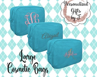 Make up Bag Personalized, Makeup Bag, Cosmetic bag, Waffle Make up Bag, Bridesmaid Gifts, Waffle Cosmetic Bag, Personalized Bridal