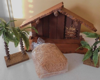 vintage Wood Creche Nativity Stable plus palm trees and straw