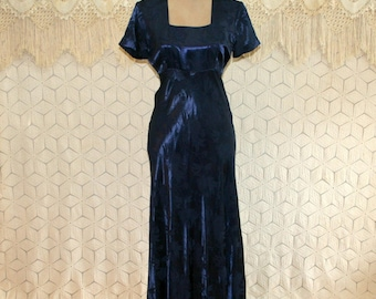 Midnight Blue Satin Maxi Long High Waist Dress Small Square Neck Empire Waist Short Sleeve Formal 80s 1980s Vintage Clothing Womens Clothing