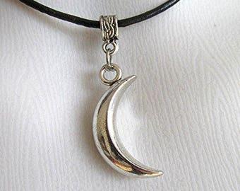 Moon pendant moon choker necklace moon jewelry waxed cord pagan goth choker handmade gift.