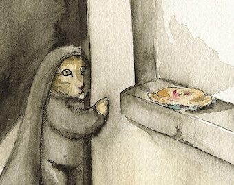 Pie Thief- Arcvhial print- Cat art
