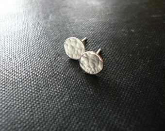 Tiny Hammered Silver Dot Earrings - Dainty Sterling Silver Post Earrings, Tiny Hammered Silver Dot Circle Earrings