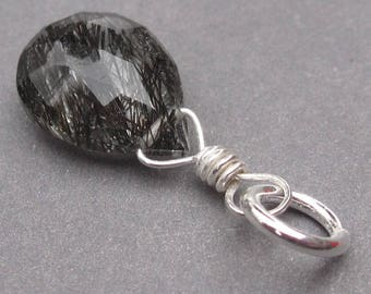 Black Rutilated Quartz Charm, Healing Stone, Charm for Bracelet, Sterling Silver Wire Wrapped Pendant, Silver Necklace Charm, Stone 114