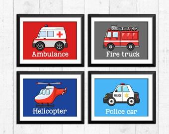Rescue vehicles prints, boys nursery prints, transportation decor, boys wall decor, trucks car art prints, fire truck, police car, A-4027