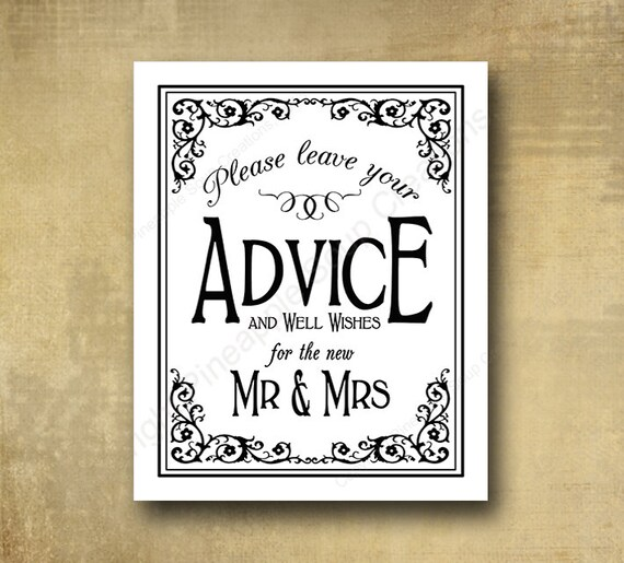 Advice and Well Wishes for Mr & Mrs Wedding sign - PRINTED - optional add ons - Black Tie collection - Black white wedding sign