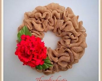 Christmas Burlap Wreath-Christmas Wreath-Front Door Christmas Wreath-Red Christmas Wreath-Holiday Burlap Wreath-Holiday Wreath-Rustic Wreath
