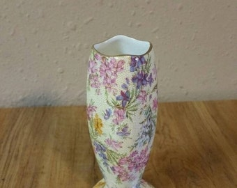 On Sale Lord Nelson Rose Chintz Small Pink and Purple Bud Vase Made in England Collectible Home Decor