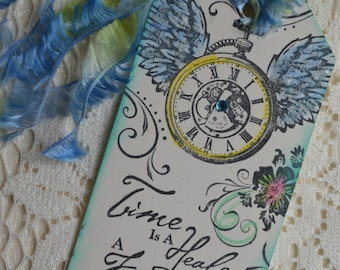 TIME IS HEALER clock wings steampunk Inspirational Collage Tag altered art journal book collage recovery journey