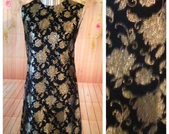 Vintage Mary Sachs Black and Gold Sheath Dress