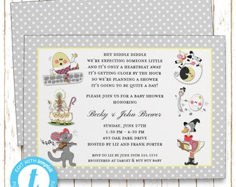 Nursery Rhymes Invitation | Baby Shower | Printable Editable Digital PDF File | Templett | BSI374DIY