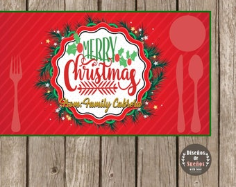 Merry Christmas Placemat, Merry Christmas, Placemat Customizable, Printable Placemat, Merry Christmas From Family, Feliz Navidad