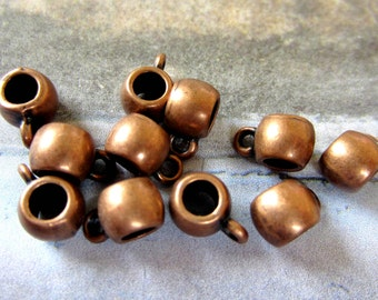 24 Bead hanger links jewelry making suppplies  antique copper charm hangers copper jewelry bails 94Y-L3