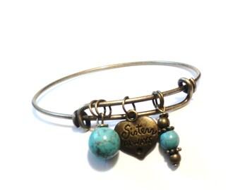 Bangle Bracelet - Sisters Always Bracelet - Best Friends Jewelry - Sis Bracelet - Turquoise Bracelet - Christmas GIFT for Her - Yoga Jewelry