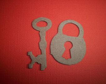 Mini Lock & Key Set of 10 Die Cuts