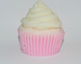 Vanilla Pink and White Cupcake Soap -- Natural, Vegan, Cruelty Free, Made WITHOUT Propylene Glycol  -- 4 oz