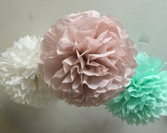 10 Tissue Pom Poms - Your Color Choice- SALE - Dusty Pink and Mint Party Decorations - Shabby Chic Decor - Rustic Barn wedding