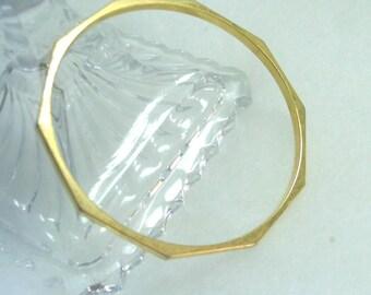 Gold Tone Metal Angular Bangle Bracelet  1980's