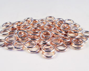 FC08 - Jump rings closed color Rose plated Rose Gold 8 mm in diameter / 8mm Rose Gold Closed Soldered Jump Rings