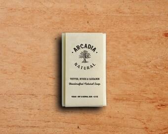 Natural Soap, Cold Process Soap, Moisturizing body soap, Men's Soap, Vegan Soap, Handcrafted Soap Bar, Vetiver Myrrh & Cardamom