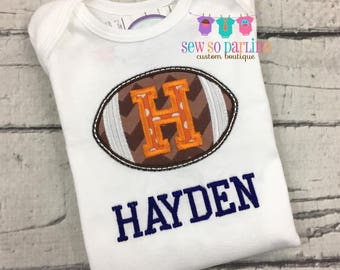 Baby boy football shirt or bodysuit - Orange and Blue football baby clothes - personalized baby boy clothes - Football baby shirt for boys